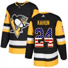 Cheap Adidas Penguins #24 Dominik Kahun Black Home Authentic USA Flag Stitched NHL Jersey