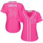 Cheap Athletics #34 Rollie Fingers Pink Fashion Women's Stitched MLB Jersey