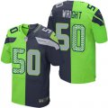 Cheap Nike Seahawks #50 K.J. Wright Steel Blue/Green Men's Stitched NFL Elite Split Jersey