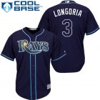 Cheap Rays #3 Evan Longoria Dark Blue Stitched Youth MLB Jersey
