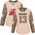 Cheap Adidas Devils #13 Nico Hischier Camo Authentic 2017 Veterans Day Women's Stitched NHL Jersey