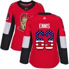 Cheap Adidas Senators #63 Tyler Ennis Red Home Authentic USA Flag Women's Stitched NHL Jersey