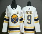 Cheap Youth Buffalo Sabres #9 Jack Eichel White With Gold C Patch and 50th Anniversary Adidas Stitched NHL Jersey