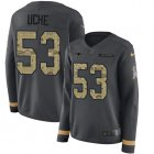 Cheap Nike Patriots #53 Josh Uche Anthracite Salute to Service Women's Stitched NFL Limited Therma Long Sleeve Jersey