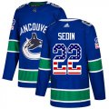 Cheap Adidas Canucks #22 Daniel Sedin Blue Home Authentic USA Flag Stitched NHL Jersey
