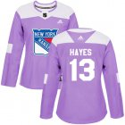 Cheap Adidas Rangers #13 Kevin Hayes Purple Authentic Fights Cancer Women's Stitched NHL Jersey