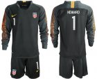 Cheap USA #1 Howard Black Goalkeeper Long Sleeves Soccer Country Jersey