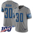 Cheap Nike Lions #30 Jeff Okudah Gray Youth Stitched NFL Limited Inverted Legend 100th Season Jersey