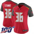 Cheap Nike Buccaneers #36 M.J. Stewart Red Team Color Women's Stitched NFL 100th Season Vapor Untouchable Limited Jersey