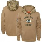 Cheap Youth Green Bay Packers Nike Khaki 2019 Salute to Service Therma Pullover Hoodie