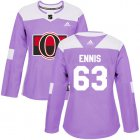 Cheap Adidas Senators #63 Tyler Ennis Purple Authentic Fights Cancer Women's Stitched NHL Jersey
