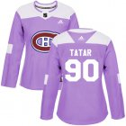 Cheap Adidas Canadiens #90 Tomas Tatar Purple Authentic Fights Cancer Women's Stitched NHL Jersey