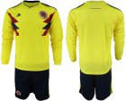Cheap Colombia Blank Home Long Sleeves Soccer Country Jersey