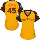 Cheap Orioles #45 Mark Trumbo Gold 2016 All-Star American League Women's Stitched MLB Jersey