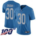 Cheap Nike Lions #30 Jeff Okudah Blue Throwback Youth Stitched NFL 100th Season Vapor Untouchable Limited Jersey