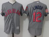 Cheap Indians #12 Francisco Lindor Grey Fashion Stars & Stripes Flexbase Authentic Stitched MLB Jersey