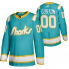Cheap San Jose Sharks Custom Men's Adidas 2020 Throwback Authentic Player NHL Jersey Teal