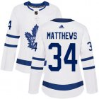 Cheap Adidas Maple Leafs #34 Auston Matthews White Road Authentic Women's Stitched NHL Jersey