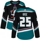 Cheap Adidas Ducks #25 Ondrej Kase Black/Teal Alternate Authentic Women's Stitched NHL Jersey