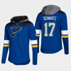 Cheap Blues #17 Jaden Schwartz Blue 2018 Pullover Platinum Hoodie
