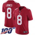Cheap Nike Giants #8 Daniel Jones Red Alternate Men's Stitched NFL 100th Season Vapor Limited Jersey