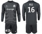Cheap Marseille #16 Pele Black Goalkeeper Long Sleeves Soccer Club Jersey