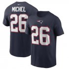 Cheap New England Patriots #26 Sony Michel Nike Team Player Name & Number T-Shirt Navy