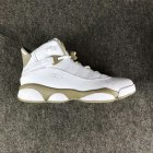 Cheap Womens Air Jordan 6 Rings Shoes White/Khaki-Blue