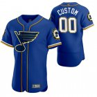 Cheap St. Louis Blues Custom Men's 2020 NHL x MLB Crossover Edition Baseball Jersey Blue