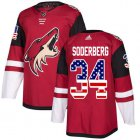 Cheap Adidas Coyotes #34 Carl Soderberg Maroon Home Authentic USA Flag Stitched NHL Jersey