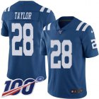 Cheap Nike Colts #28 Jonathan Taylor Royal Blue Youth Stitched NFL Limited Rush 100th Season Jersey