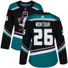 Cheap Adidas Ducks #26 Brandon Montour Black/Teal Alternate Authentic Women's Stitched NHL Jersey