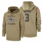 Cheap Seattle Seahawks #3 Russell Wilson Nike Tan 2019 Salute To Service Name & Number Sideline Therma Pullover Hoodie