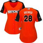 Cheap Rockies #28 Nolan Arenado Orange 2017 All-Star National League Women's Stitched MLB Jersey