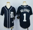 Cheap Tigers #1 Jose Iglesias Navy Blue Cool Base Stitched Youth MLB Jersey
