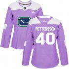 Cheap Adidas Canucks #40 Elias Pettersson Purple Authentic Fights Cancer Women's Stitched NHL Jersey