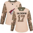 Cheap Adidas Coyotes #17 Alex Galchenyuk Camo Authentic 2017 Veterans Day Women's Stitched NHL Jersey