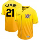 Cheap Nike Pirates #21 Roberto Clemente Gold Fade Authentic Stitched MLB Jersey
