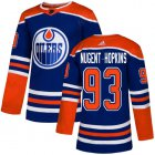 Cheap Adidas Oilers #93 Ryan Nugent-Hopkins Royal Alternate Authentic Stitched Youth NHL Jersey