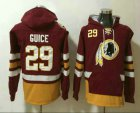 Cheap Men's Washington Redskins #29 Derrius Guice Jersey NEW Burgundy Red Pocket Stitched NFL Pullover Hoodie