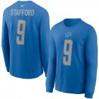 Cheap Detroit Lions #9 Matthew Stafford Nike Player Name & Number Long Sleeve T-Shirt Blue