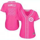 Cheap Rangers #35 Cole Hamels Pink Fashion Women's Stitched MLB Jersey