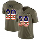 Cheap Nike Bengals #38 LeShaun Sims Olive/USA Flag Youth Stitched NFL Limited 2017 Salute To Service Jersey