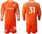 Cheap Manchester City #31 Ederson Orange Goalkeeper Long Sleeves Soccer Club Jersey