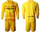 Cheap Barcelona Blank Yellow Goalkeeper Long Sleeves Soccer Club Jersey