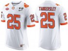 Cheap Men's Clemson Tigers #25 Cordrea Tankersley White 2017 Championship Game Patch Stitched CFP Nike Limited Jersey