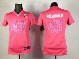 Cheap Nike Steelers #43 Troy Polamalu Pink Sweetheart Women's Stitched NFL Elite Jersey