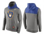 Cheap Men's Milwaukee Brewers Nike Gray Cooperstown Collection Hybrid Pullover Hoodie