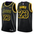 Cheap Nike Los Angeles Lakers #23 LeBron James Black NBA Swingman City Edition Jersey