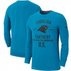 Cheap Men's Carolina Panthers Nike Blue 2019 Salute to Service Sideline Performance Long Sleeve Shirt